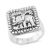 Black Oxidised Sterling Silver Elephant Ring (Size 6.0)