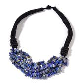 Lapis Lazuli Chips, Black Glass Beads Multi Strand Necklace (19 in) TGW 502.50 cts.