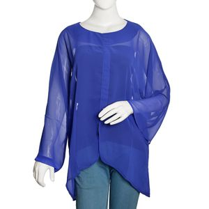 Blue 100% Polyester Roun Neck To with Front Seam closure with 3/4th Sleeves (XXL)