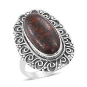 Artisan Crafted Dino Bone Sterling Silver Ring (Size 7.0) TGW 9.70 cts.