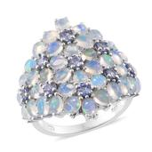 Ethiopian Welo Opal, Tanzanite, Cambodian Zircon Platinum Over Sterling Silver Ring (Size 6.0) TGW 4.21 cts.