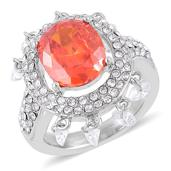 Simulated Orange and White Diamond, White Austrian Crystal Stainless Steel Ring (Size 9.0) TGW 21.00 cts.