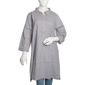 Stone Gray 100% Cotton Chambray Tunic with Button and Collar (Size 20)