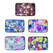Set of 5 Multi Color Floral and Butterfly Pattern RFID Blocking Card Holders (4x.5x2.75 in)