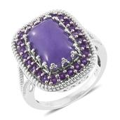 Burmese Purple Jade, Amethyst Platinum Over Sterling Silver Ring (Size 6.0) TGW 8.80 cts.