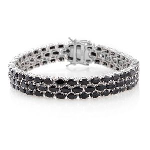 TLV Thai Black Spinel Platinum Over Sterling Silver Bracelet (7.25 In) TGW 36.00 cts.