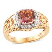 Mystic Twilight Topaz, Cambodian Zircon 14K YG Over Sterling Silver Ring (Size 8.0) TGW 3.20 cts.