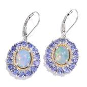 Ethiopian Welo Opal, Tanzanite, Cambodian Zircon 14K YG and Platinum Over Sterling Silver Lever Back Earrings TGW 5.34 cts.
