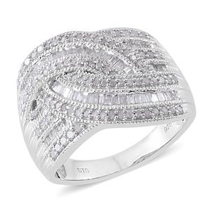 Diamond Platinum Over Sterling Silver Ring (Size 7.0) TDiaWt 0.99 cts, TGW 0.99 cts.