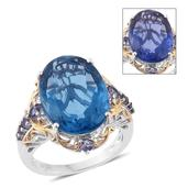 Color Change Fluorite, Catalina Iolite 14K YG and Platinum Over Sterling Silver Ring (Size 10.0) TGW 17.73 cts.