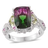 Watermelon Quartz, Multi Gemstone Platinum Over Sterling Silver Ring (Size 8.0) TGW 9.06 cts.