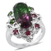 Watermelon Quartz, Niassa Ruby, Russian Diopside Platinum Over Sterling Silver Ring (Size 6.0) TGW 11.17 cts.