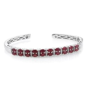Niassa Ruby Platinum Over Sterling Silver Cuff (7.25 in) TGW 7.90 cts.