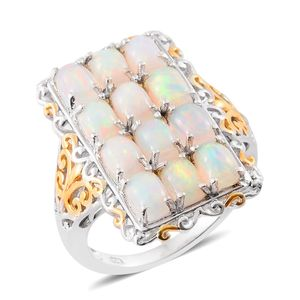 Ethiopian Welo Opal 14K YG and Platinum Over Sterling Silver Elongated Ring (Size 7.0) TGW 4.90 cts.
