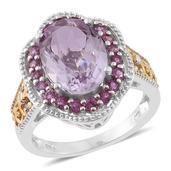 Rose De France Amethyst, Orissa Rhodolite Garnet 14K YG and Platinum Over Sterling Silver Ring (Size 10.0) TGW 6.40 cts.