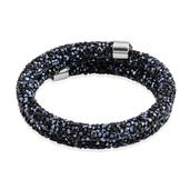 Black and Midnight Blue Austrian Crystal Silvertone Wrap Bracelet (6.50 In)