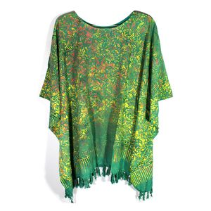 Green Motif Superfine Rayon Splash Art Poncho with Tessel (Free Size)