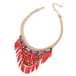 Red Chroma Goldtone Fabric V-Shape Fringe Tribal Necklace (16-20 in)
