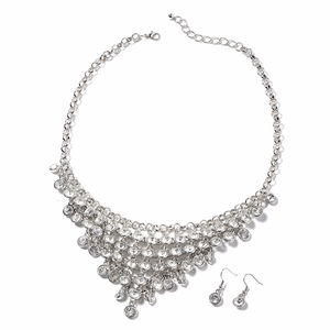White Austrian Crystal Silvertone Earrings and Bib Necklace (22 in)