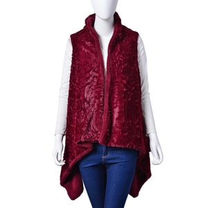 Burgundy Cozy 100% Polyester Faux Fur Vest (One Size)