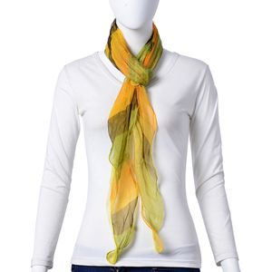 Yellow 100% Natural Mulberry Silk Blended Pattern Triangle Ruffled Scarf (70x42 in)