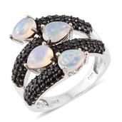 Ethiopian Welo Opal, Thai Black Spinel Platinum Over Sterling Silver Ring (Size 10.0) TGW 3.55 cts.