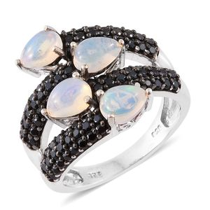 Ethiopian Welo Opal, Thai Black Spinel Platinum Over Sterling Silver Ring (Size 7.0) TGW 3.55 cts.