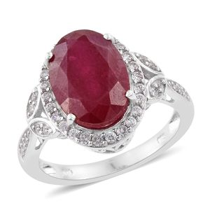 Niassa Ruby, Cambodian Zircon Platinum Over Sterling Silver Ring (Size 9.0) 0 TGW 9.08 cts.