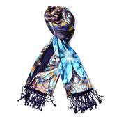 Reversible Luxurious Sapphire Blue 3D Flower Print Pattern 50% Viscose and 50% Polyester Scarf with Fringes (70x24 in)
