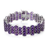 Lusaka Amethyst Platinum Over Sterling Silver Bracelet (7.50 In) TGW 45.92 cts.