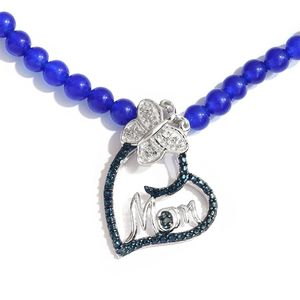 Diamond Accent Platinum Over Sterling Silver Heart Pendant With Blue Quartzite Beads Necklace (20 in) TGW 70.01 cts.