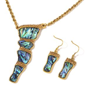 Abalone Shell, Champagne Color Austrian Crystal Goldtone Earrings and Necklace (26 in) TGW 57.50 cts.