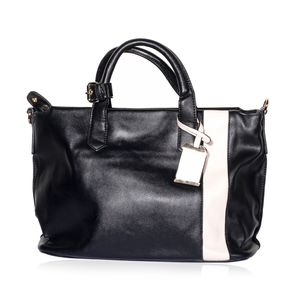 Black and White Faux Leather Tote Bag with Removable Shoulder Strap (18.5x7.5x10 in)