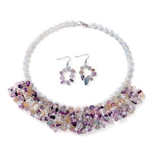 African Fluorite Silvertone & Stainless Steel Earrings and Bib Necklace (18 in) TGW 563.00 cts.