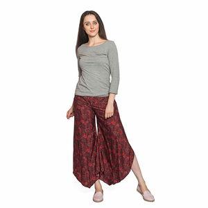 Red Plum Damask Print 100% Polyester High-waist Elastic Back Palazzo Pants