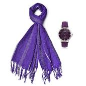 STRADA Austrian Crystal Japanese Movement Eggplant Purple Silvertone Quilted Face Watch with Faux Leather Strap, Stainless Steel Back and Matching Viscose Shiny Thread Sequins Fringe Scarf (70x24 in)