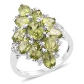 Hebei Peridot, Cambodian Zircon Platinum Over Sterling Silver Elongated Ring (Size 7.0) TGW 5.85 cts.