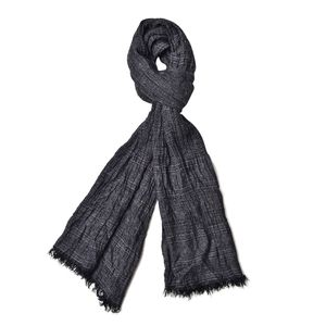 Black 100% Polyester Ikat Pattern Scarf (80x36 in)