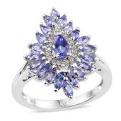 Tanzanite, Cambodian Zircon Platinum Over Sterling Silver Split Ring (Size 6.0) TGW 2.06 cts.