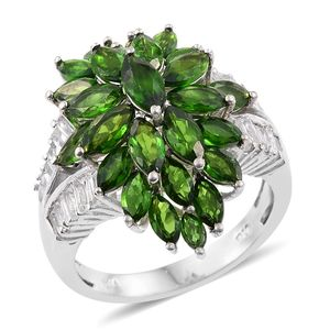 Russian Diopside, White Topaz Platinum Over Sterling Silver Cluster Split Ring (Size 10.0) TGW 7.80 cts.