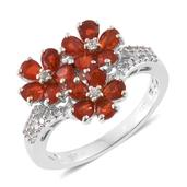 Crimson Fire Opal, Cambodian Zircon Platinum Over Sterling Silver Lilly Flower Ring (Size 7.0) TGW 2.03 cts.