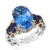 Caribbean Quartz, Catalina Iolite 14K YG and Platinum Over Sterling Silver Ring (Size 6.0) TGW 8.01 cts.