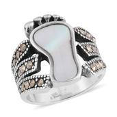 White Mother of Pearl, Swiss Marcasite Black Oxidised Stainless Steel Footprint Ring (Size 10.0) TGW 10.00 cts.