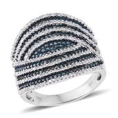 Blue Diamond (IR), Diamond Platinum Over Sterling Silver Cluster Ring (Size 9.0) TDiaWt 1.50 cts, TGW 1.50 cts.