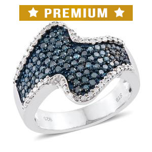 Blue Diamond (IR), Diamond Platinum Over Sterling Silver Ring (Size 8.0) TDiaWt 0.99 cts, TGW 0.99 cts.