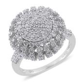 Diamond Platinum Over Sterling Silver Ring (Size 8.0) TDiaWt 1.49 cts, TGW 1.49 cts.