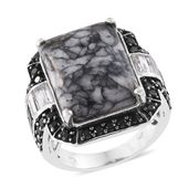 Austrian Pinolith, Thai Black Spinel, White Topaz Platinum Over Sterling Silver Ring (Size 7.0) TGW 25.63 cts.