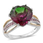 Watermelon Quartz, Pink Tourmaline 14K YG and Platinum Over Sterling Silver Ring (Size 5.0) TGW 10.24 cts.