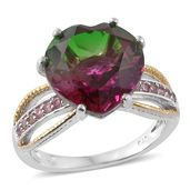 Watermelon Quartz, Pink Tourmaline 14K YG and Platinum Over Sterling Silver Ring (Size 8.0) TGW 10.24 cts.