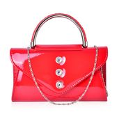 White Austrian Crystal, Red Faux Patent Leather Envelope Bag with Removeable Chain Strap (45 in)(8.5x2.5 in)